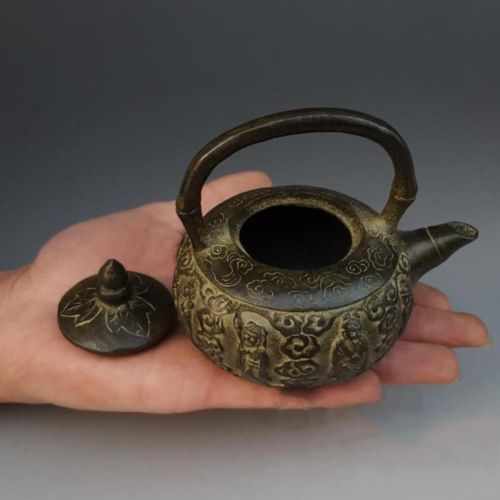 Collection Chinese Bronze Myth Eight Immortals God Wine Tea Pot Flagon Kettle