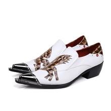 Christia Bella Fashion Italian Men Dress Shoes Genuine Leather Men Shoes White Party Wedding Shoes Business Oxfords Men's Flats
