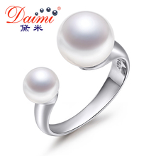 Daimi Diseño Anillo de Perlas Genuinas 6-7mm y 9-10mm de Perlas de Doble Anillo de Dos Perlas anillos