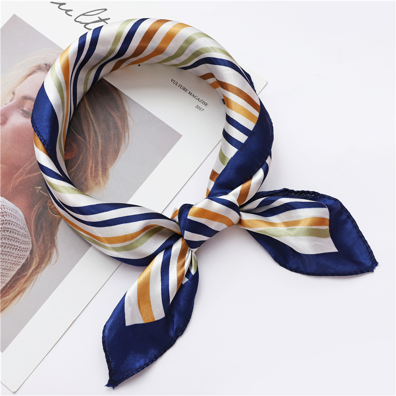 hot 2019 luxury women silk   scarf   square lady   wrap   small office neck head   scarf   hair   scarf   foulard 50*50cm skinny scarfs