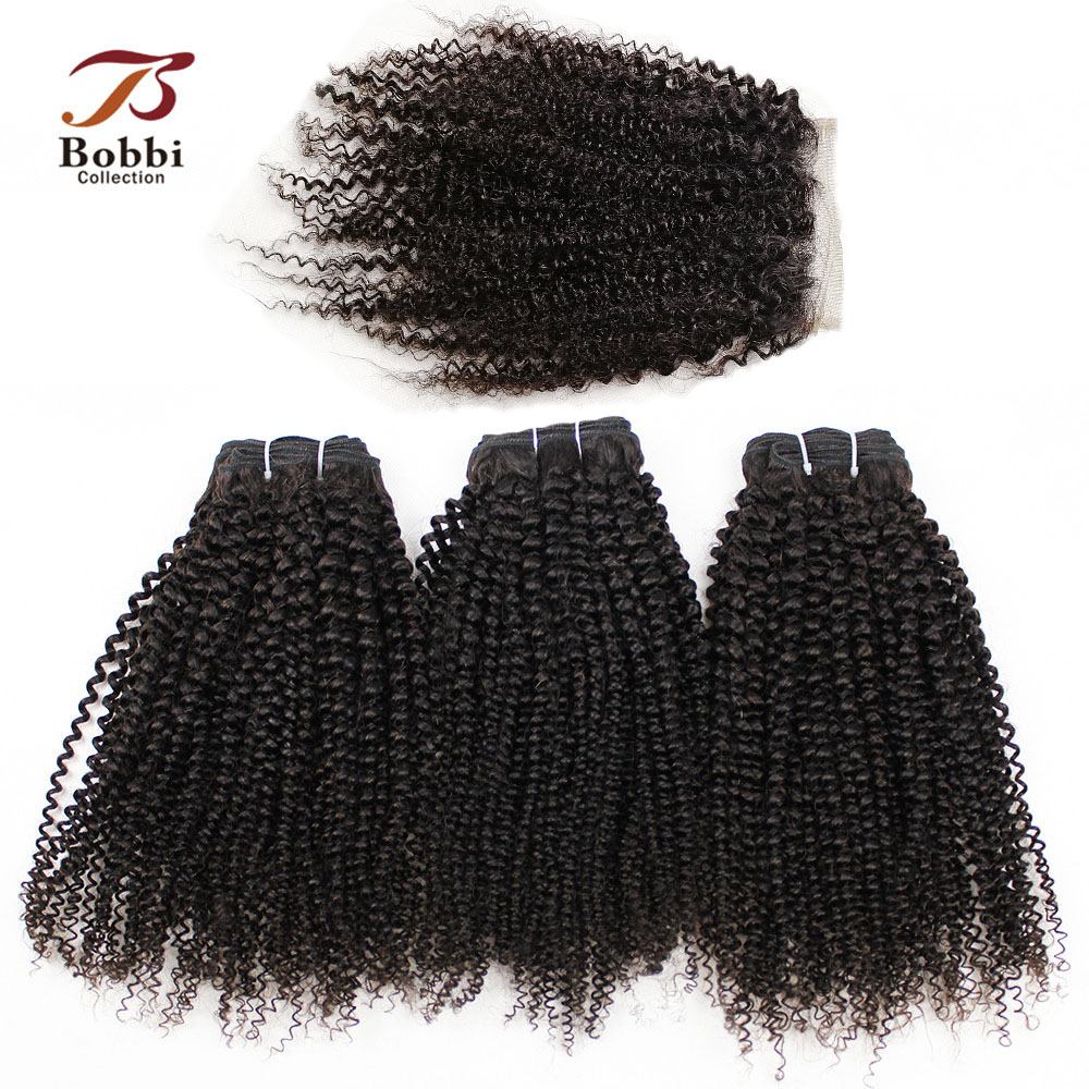 3 Bundles With Lace Closure Afro Kinky Curly Hair Weave Natural Color Brazilian None-Remy Human Hair Extensions BOBBI COLLECTION