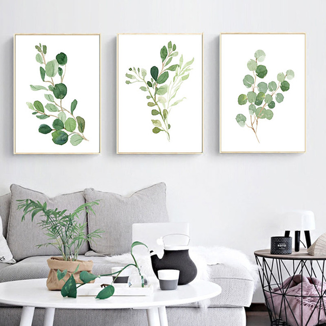 Us 4 16 30 Off Nordic Decoration Home Watercolor Green Plants Canvas Paintings Leaves Office Wall Art Poster Pictures For Living Room Decor In