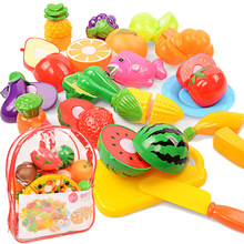 Backpack Pretend Play Kitchen Toys Miniature Food Fruits and Vegetables Cutting Toys Kids Educational Toys for Children Gifts(China)