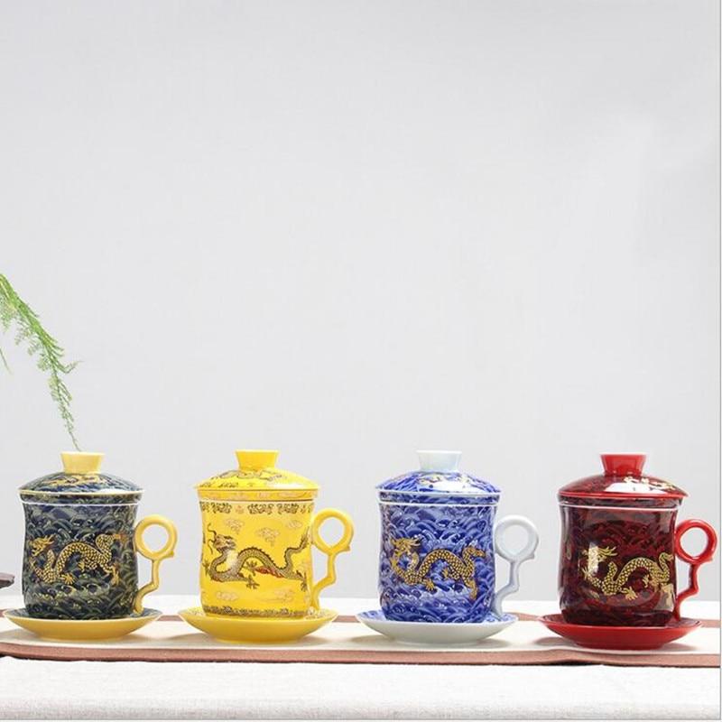 Jingdezhen bone china cup+saucer+lid+filter+gift box package dragon tea cup 350ML bone china cups 8.5*13.5cm tea tools drinkware