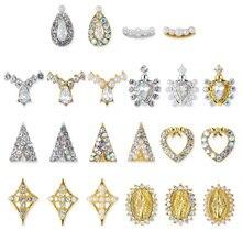 20pcs/lot Oval/drop/Heart 3D Alloy Nail Art Rhinestone Pearl metal manicure nail art accessories DIY Decoration charms