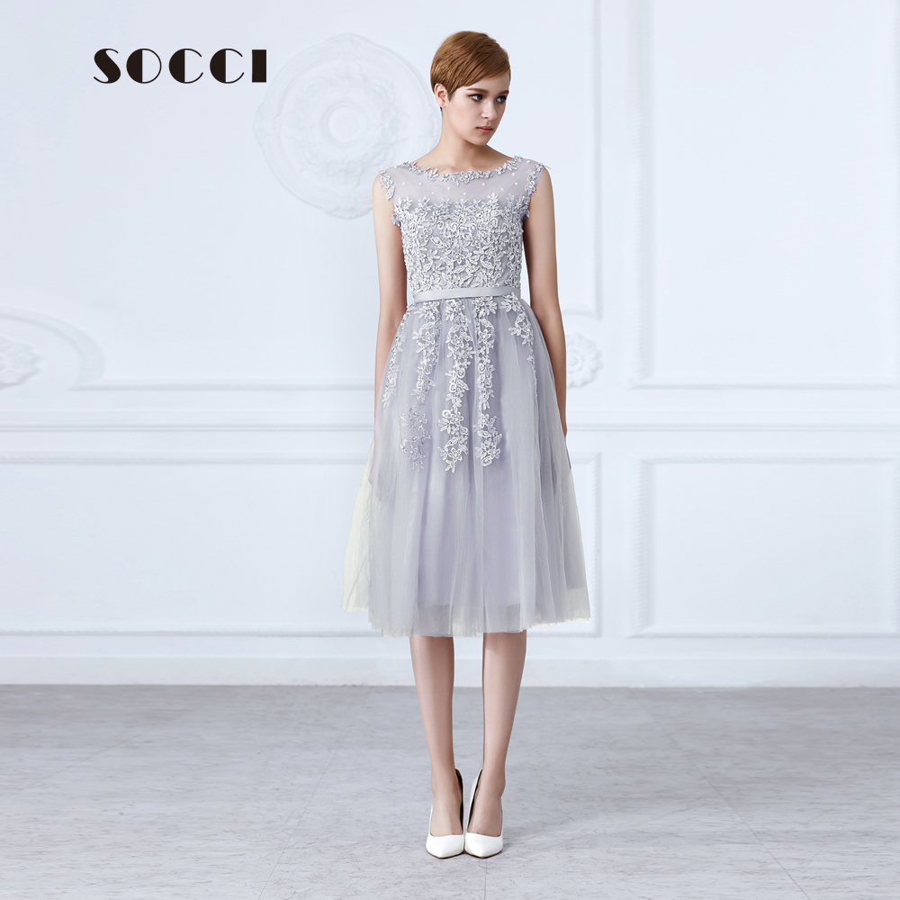 Supreme Socci Tulle Lace Appliques Short Cocktail Dresses Zipper Back A Line Formalwedding Party Dress Pearls Beading Reception Cocktail Dresses Socci Tulle Lace Appliques Short Cocktail Dresses Zippe