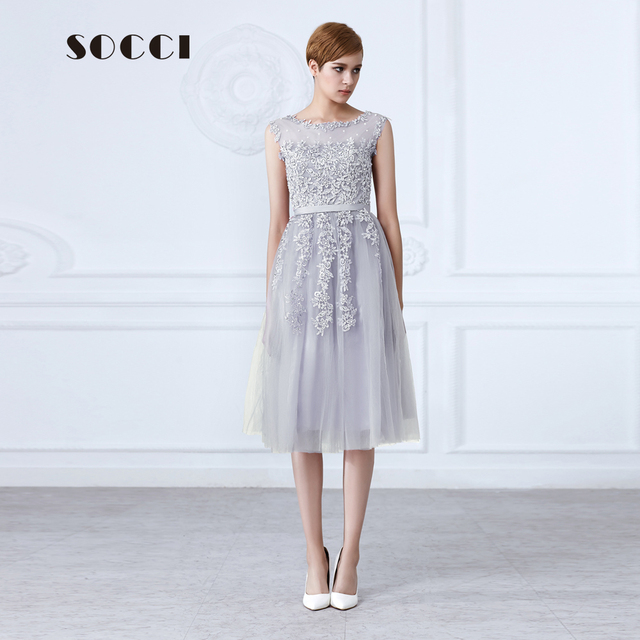 Tulle Lace Appliques Short Cocktail Dresses Zipper Back A-line Formal Wedding Party Dress Pearls Beading Reception Gowns
