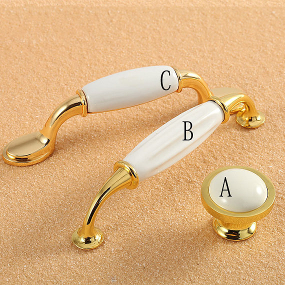Dresser Pull Ceramic Drawer Pulls Knobs Handles Cabinet Knob Kitchen Furniture Handle Hardware Gold Silver White Chrome Modern porcelain kitchen cabinet door knobs pull handle dresser knob drawer pulls handles knobs white gold knob pull furniture hardware