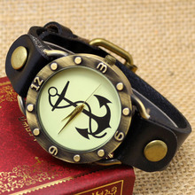 Hot Steampunk Anchor Wrist Watch Leather Quartz Watches Clock for men women ladies Free Shipping Bracelet Retro Relogio