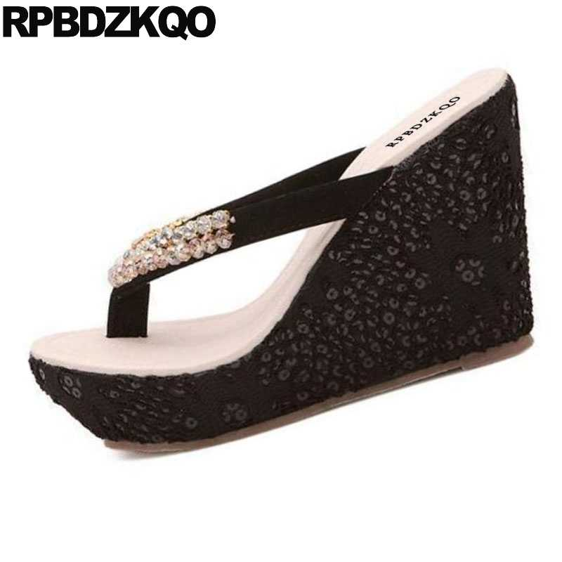 b3a91eeb7a31 ... Shoes Rhinestone Pumps Lace Wedge Sandals High Heels Platform Designer  Slip On Diamond Cheap Women Flatform