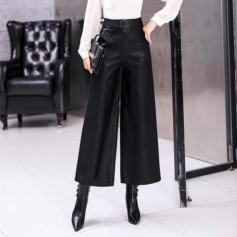 2019 Spring Pu Leather Wide Leg Pants Women Black Female Trousers OL Korean Style High Waist Office Ladies Pants Plus Size 3xl