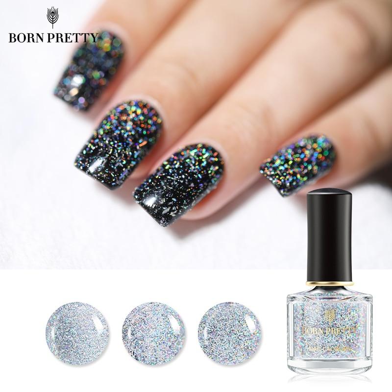 BORN PRETTY Holographic Sequins Nail Polish Galaxy Glitter Top Coat ...