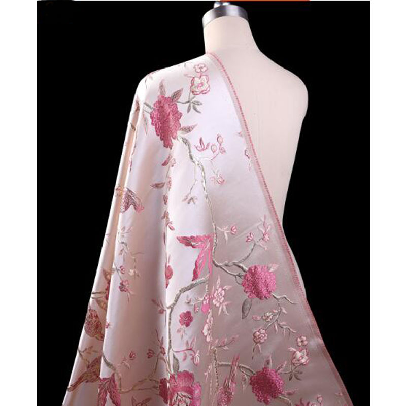 Good Brocade Fabric French Design Pink Embroidery Silk Jacquard Brocade Fabric Diy Sewing Wedding Cheongsam Dress 143*100cm1pc