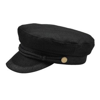 Las mujeres boina plana sombreros marinero militar gorras hueso gorra  militar estilo bordado decoración de encaje capitán algodón Naval tapas 3e451d9c8c9