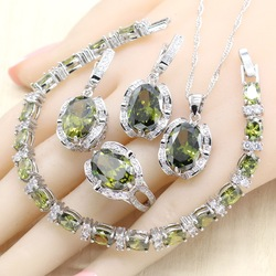 Olive Green CZ 925 Silver Jewelry Sets for Women Wedding Earrings Bracelet Rings Necklace Pendant Gift Jewelry Box