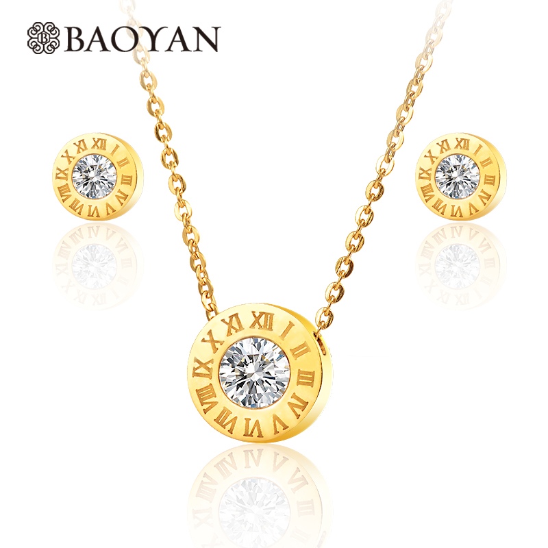 Gold Color Stainless Steel Crystal Arabic Number Round Pendant Necklace Set  for Women N0 Best Gift