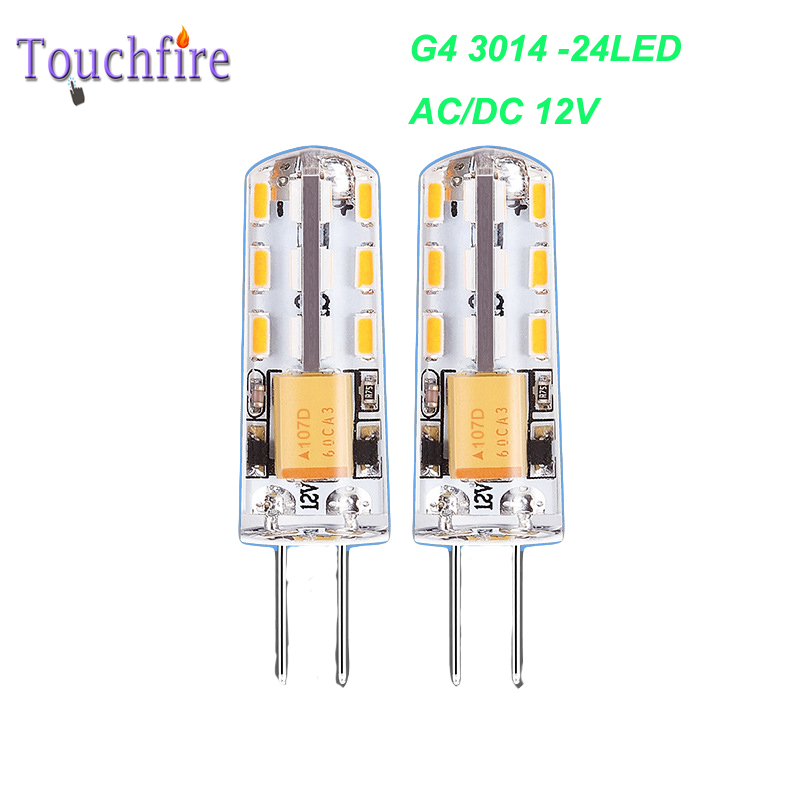 G4 3014 LED Bulb Tubes Corn Lamp 1W 24SMD 12V AC White/Warm White Light 360 Beam Angle replace Halogen Spotlight Chandelier