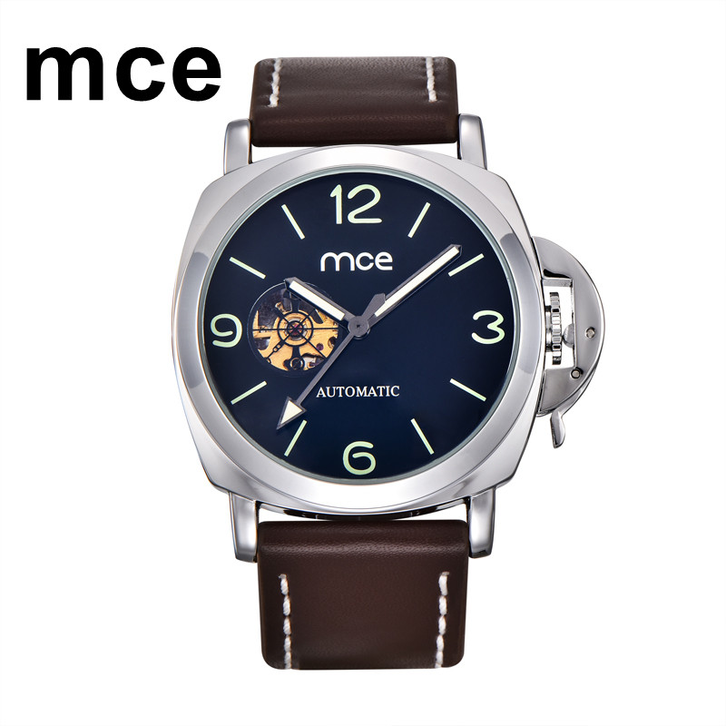 MCE Automatic Watch Men Luxury Brand Blue Self Wind Mens Mechanical Watches Waterproof Luminous Mekanik Kol Saati Dropshiping mce automatic watches luxury brand mens stainless steel self wind skeleton mechanical watch fashion casual wrist watches for men