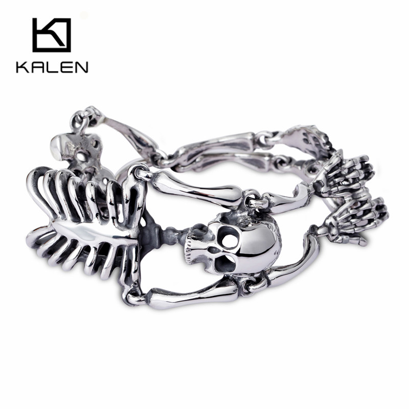 Kalen Punk Rock Gothic Stainless Steel Skull Body Bracelet For Men Link Chain Male Biker Jewelry New Brand Men's Bracelets 2017 trustylan cool stainless steel dragon grain bracelets men new arrival punk rock keel mens bracelets
