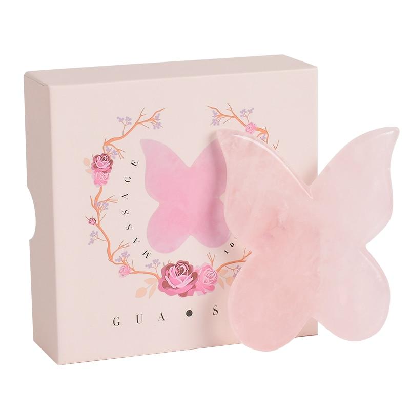 Natural Rose Quartz Butterfly Gua Sha +Gift Box SPA Acupuncture Scraper Massage Tool Face back foot massage