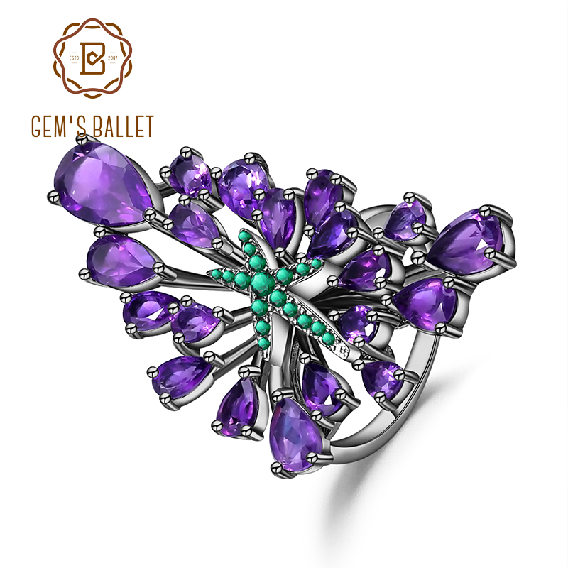 GEM'S BALLET 6.18Ct Natural Amethyst Gemstone Cocktail Ring 925 Sterling Sliver Vintage Gothic Punk Ring For Women Party Jewelry