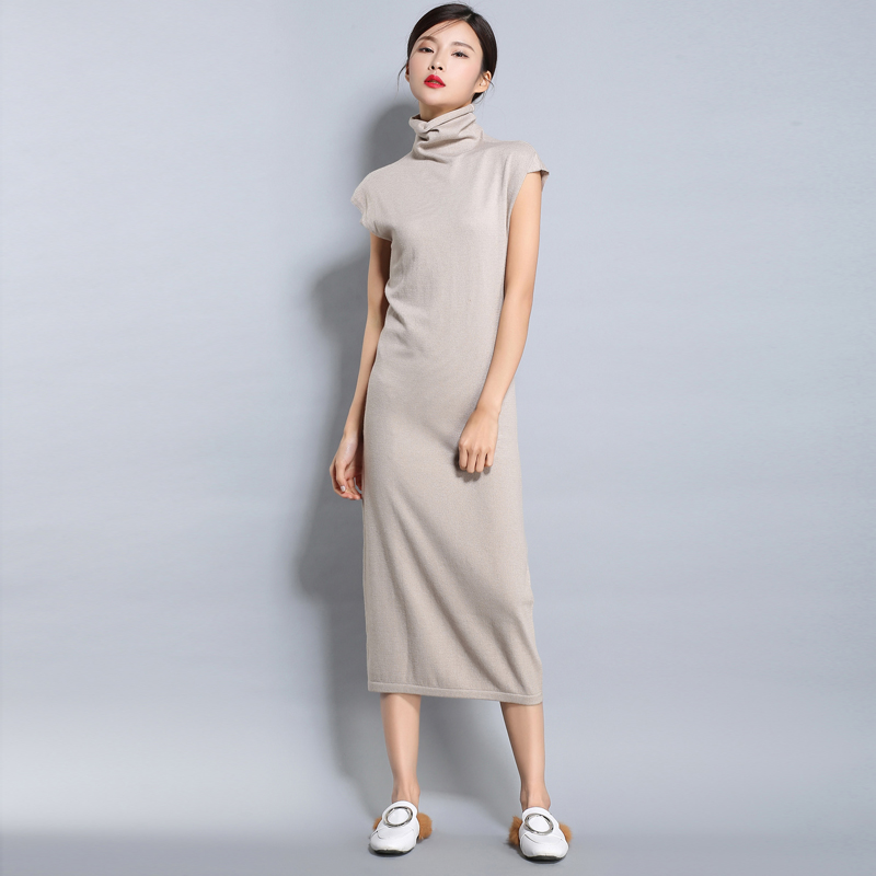 High Collar Wool Pullover Dress Korean  Plus Long Cashmere Sweater Quality Turtle Neck Sleeveless Women's Bottoming Shirts D196