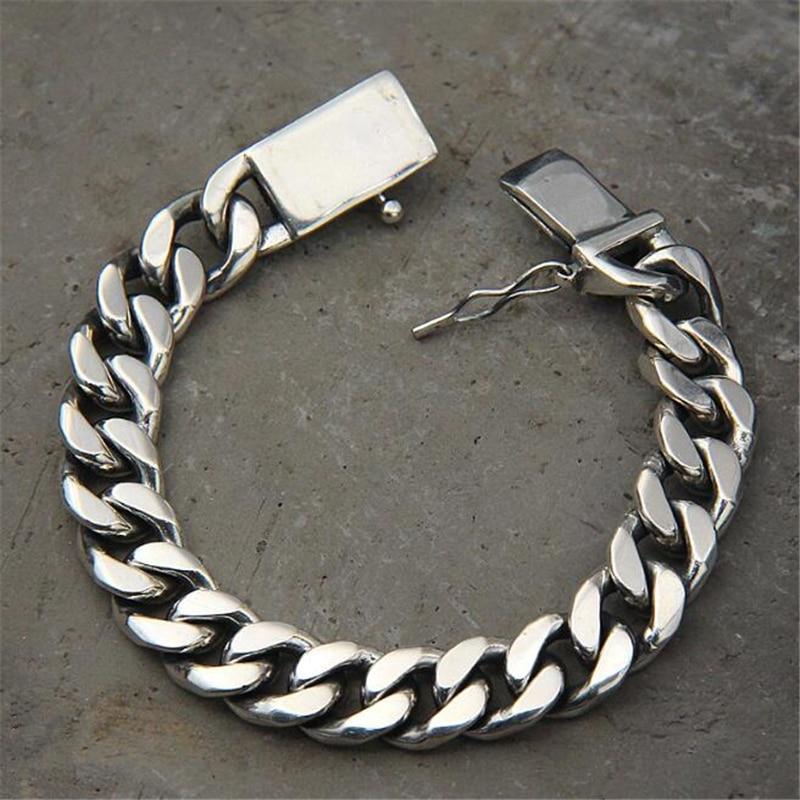Luxury 925 Sterling Silver Bracelets Man High Polish Curb Link Chain Bracelet for Men Vintage Punk Rock Biker Mens Jewelry
