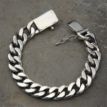 цены Luxury 925 Sterling Silver Bracelets Man High Polish Curb Link Chain Bracelet for Men Vintage Punk Rock Biker Mens Jewelry