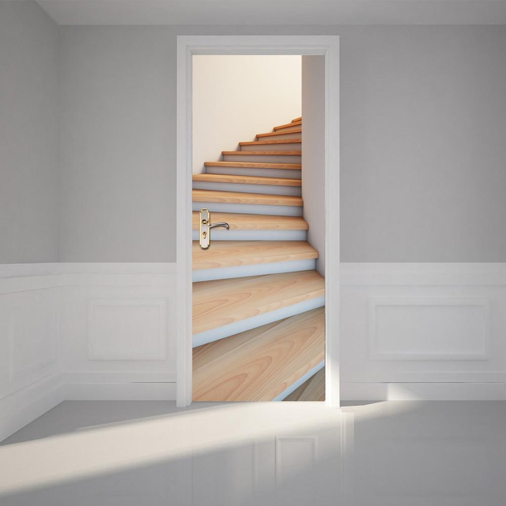 2 pçs/set Imitação Porta Da Escada Escadas Auto-adesivo de Papel De Parede 3D Adesivo Parede Home Decor DIY Mural Poster DO PVC À Prova D' Água Mural