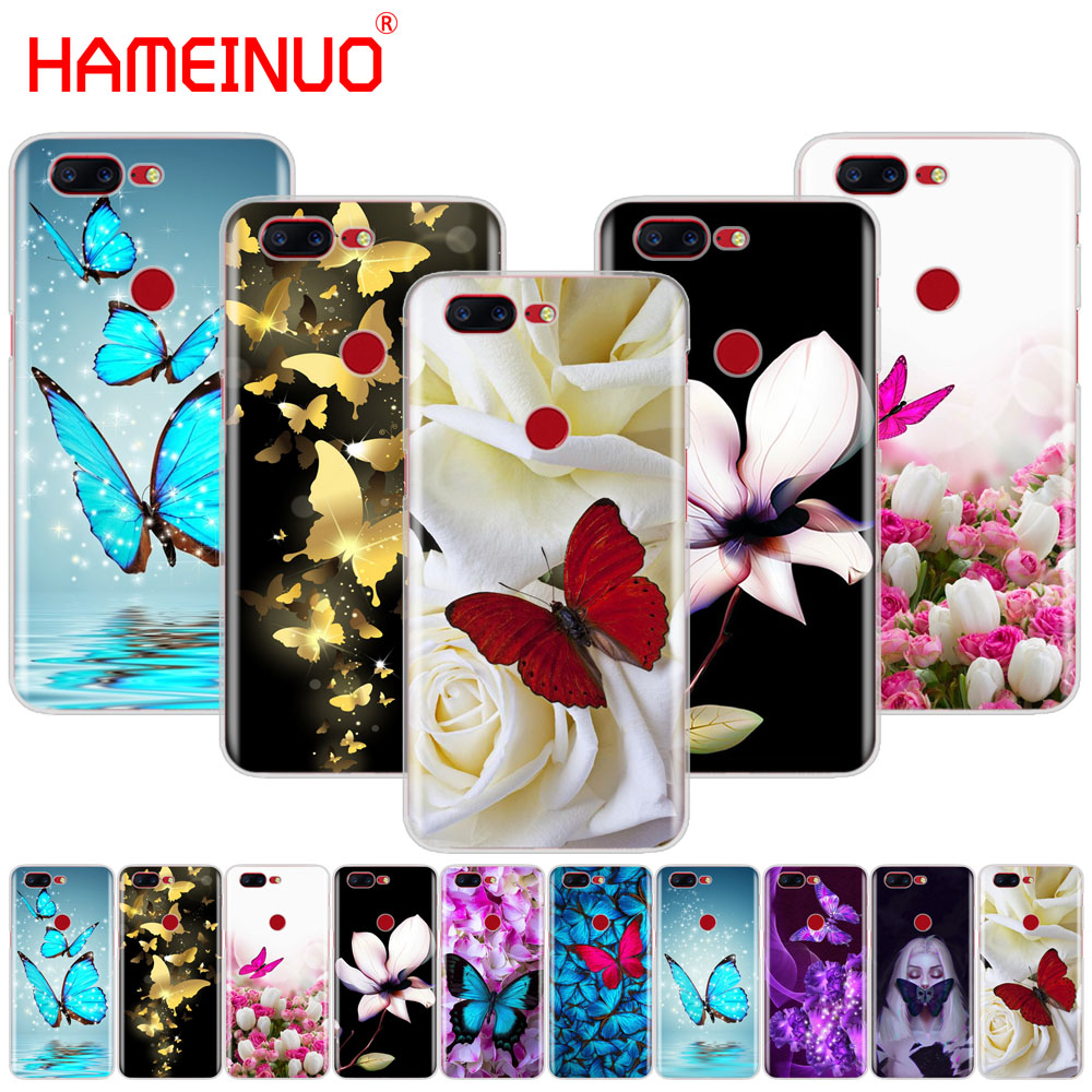 HAMEINUO butterfly on white roses flower cover phone case for Oneplus one plus 6 5T 5 3 3t 2 X A3000 A5000