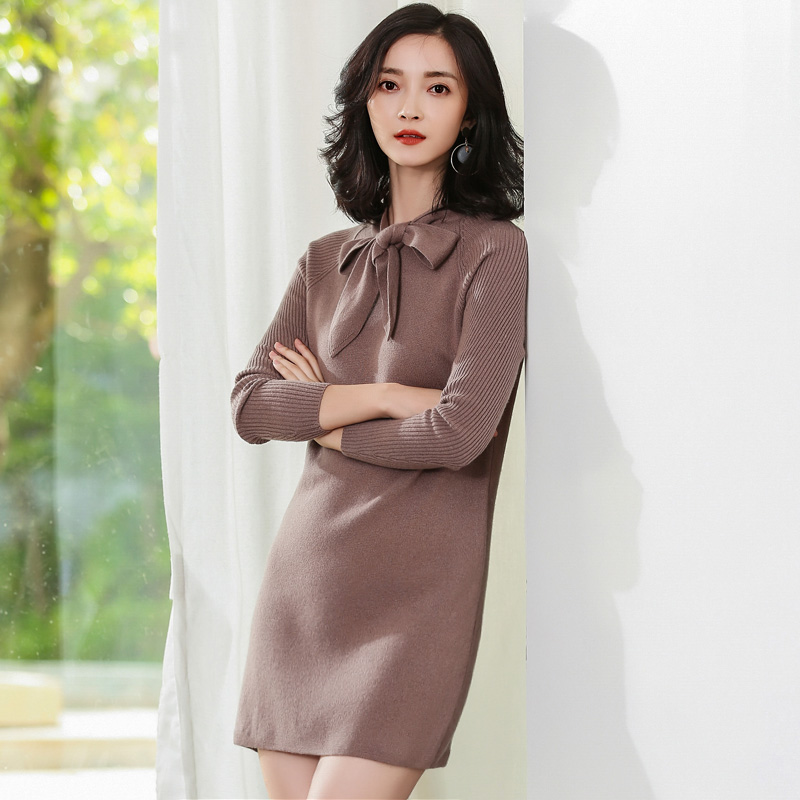 JECH Women Autumn Winter Sweater Dresses Warm Slim Butterfly Collar Vestidos Sexy Bodycon Solid Robe Long Knitted Office Dress