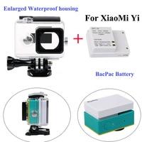 XiaoMi yi External bacpac battery + Enlarged Waterproof housing case Box for Xiaomi Yi sport camera accessories