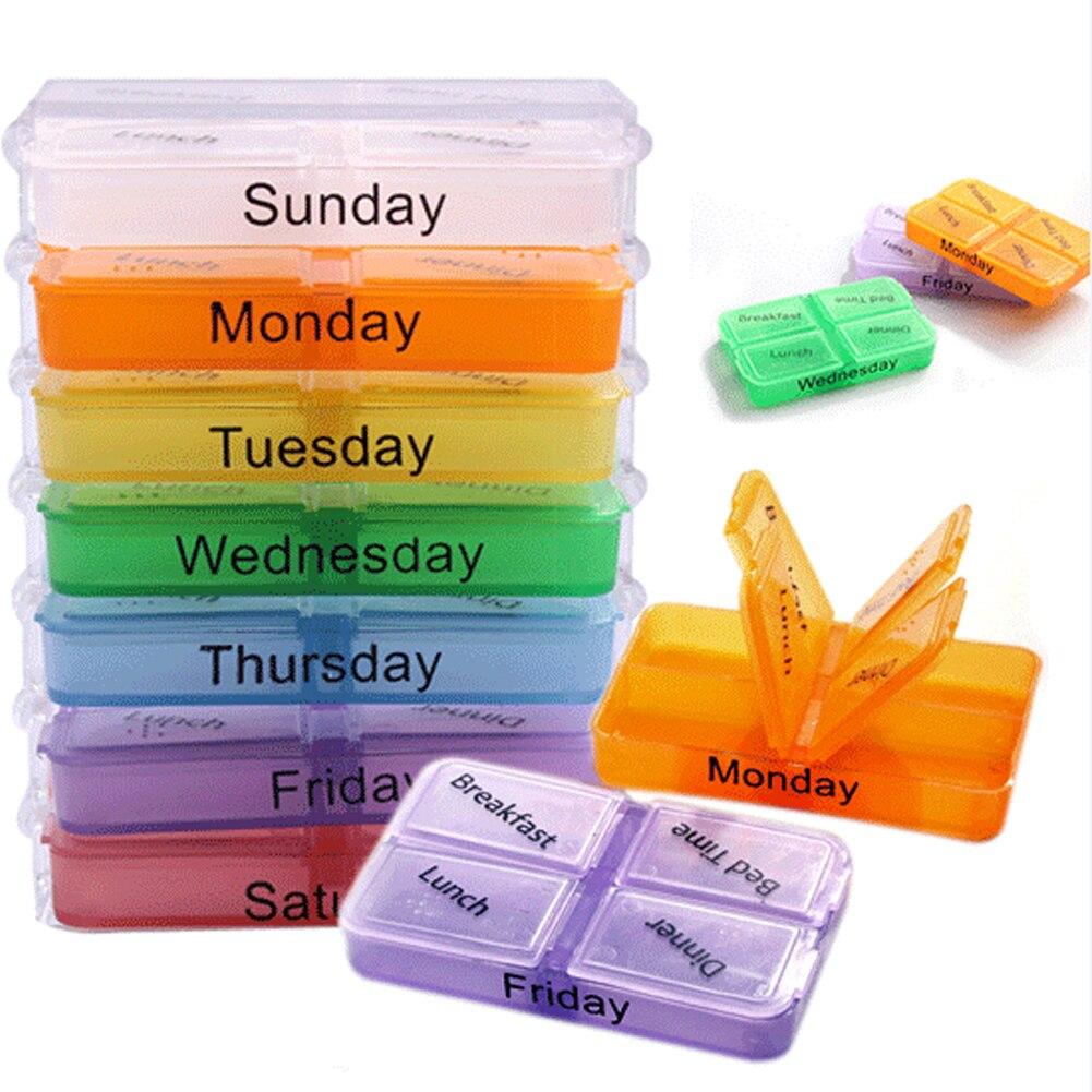 Семья удобные аксессуары медицина коробка с 28 решетки Еженедельный хранения таблетки Tablet сортировщик Box Контейнер Дело Организатор JY