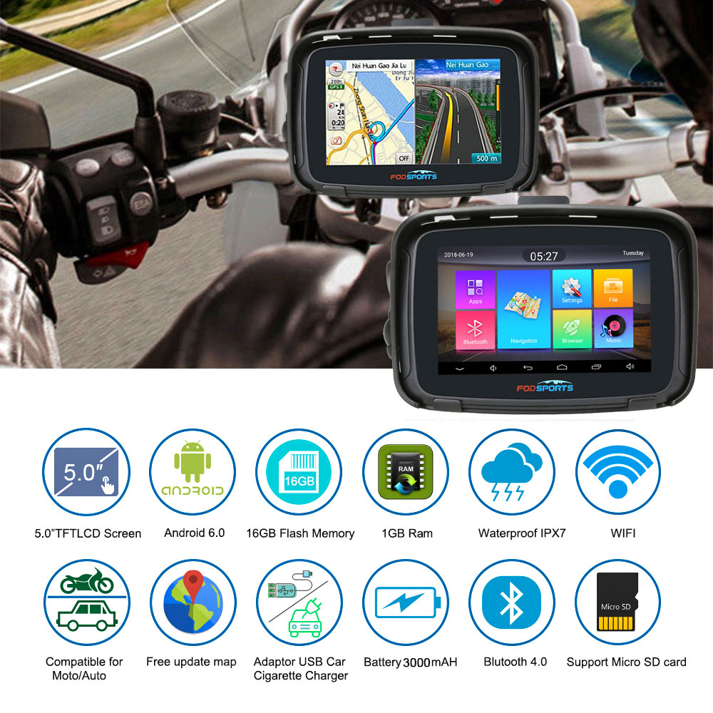 Fodsports 5 pouces Moto GPS Navigation Android 6.0 Wifi étanche Bluetooth GPS navigateur voiture Moto GPS IPX7 RAM 1G ROM 16G - 2