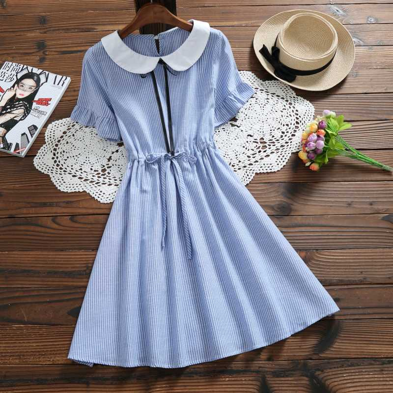 e59fe3d2fb0 Preppy Style Summer Women Kawaii Dress Peter Pan Collar Stripe Ropa Mujer  Short Sleeve Cotton Linen