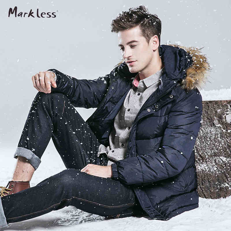 Markless 2016 Men Cotton Coats Men s Brand Clothing With Fashion Fur Hooded Parkas Casual Man