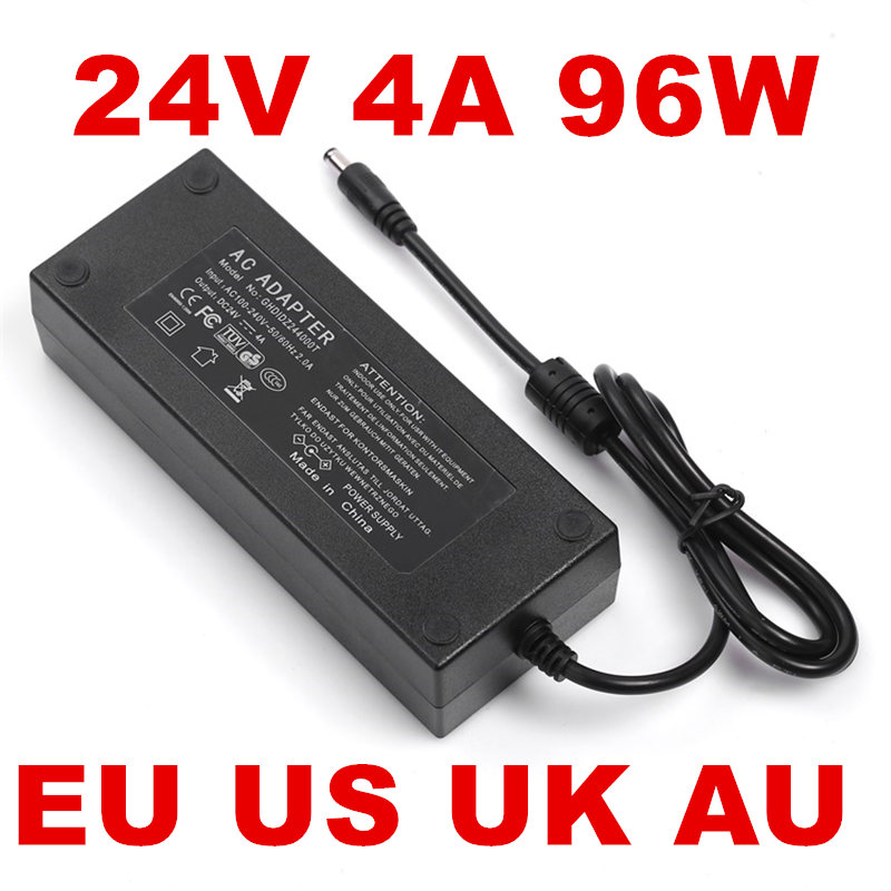 1PCS 96W 4A 24V Power Adapter 24v 4a 4000mA US/EU/UK/AU plug Adapter 24V 4A AC100-240V to DC цена