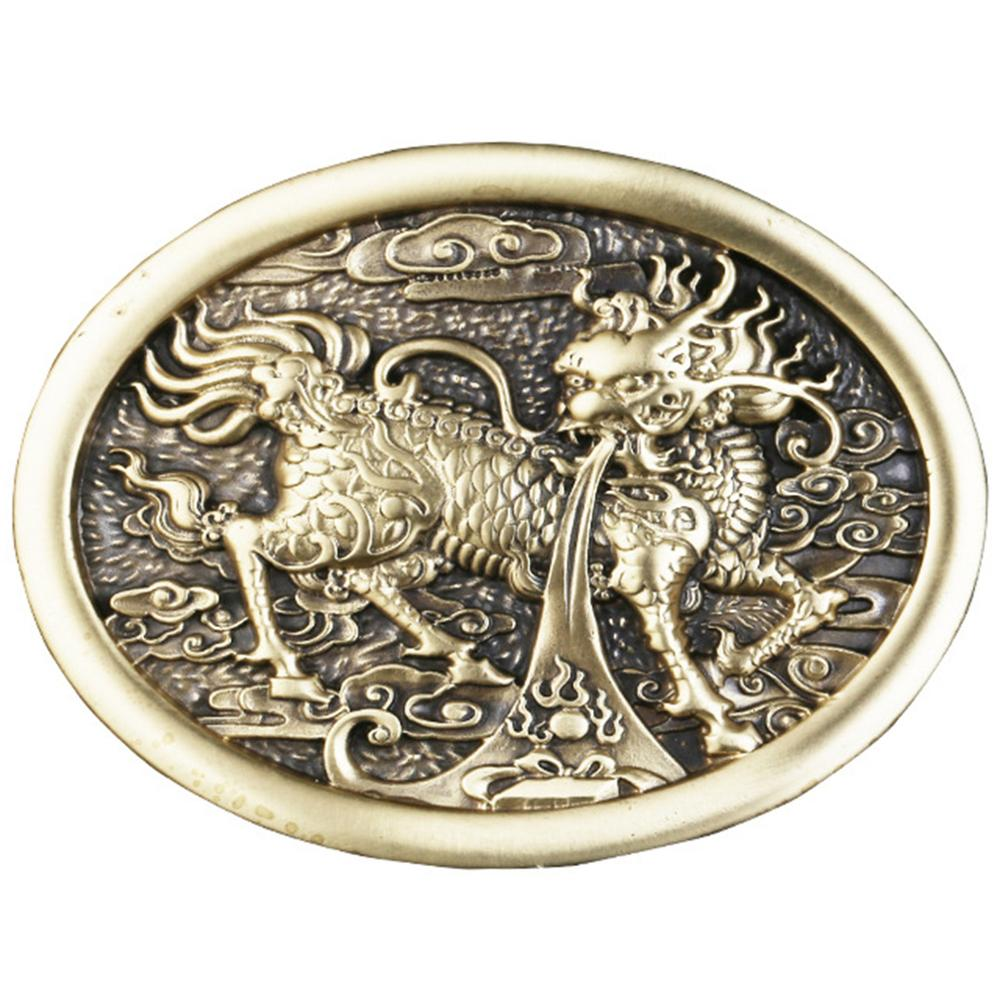 CUKUP Design The Tang Dynasty Chinese Fired Dragon Brass Buckle Metal 3.7-3.9cm Wide Belt Cowboys Buckles Only for Men BRK040