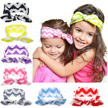 2017 Fashion girls birthday gifts cute rabbit ears headbands colored wave-like printed bowknot hair accessories for childrens