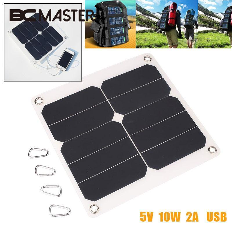 BCMaster Portable 10W 5V Solar Power Panel Cells Solar Panel Bank External Mobile Cell Phone Battery with USB Port Power Supply