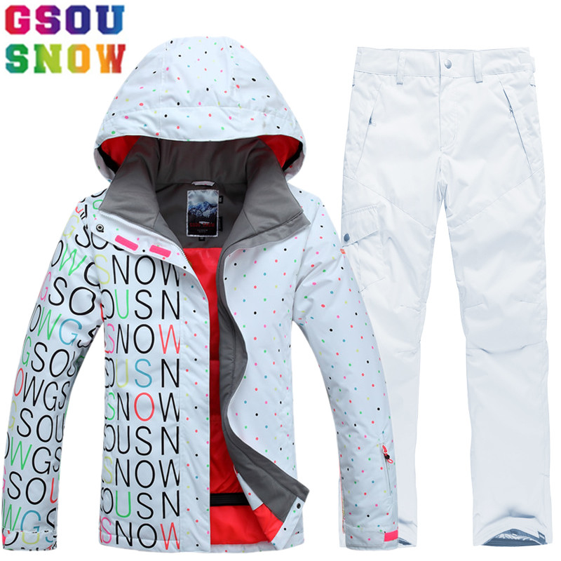 GSOU SNOW Brand Ski Suit Women Ski Jacket Pants Waterproof Snowboard Sets Mountain Skiing Suit Winter Outdoor Sports Clothing saenshing ski suit women winter suit waterproof breathable women s snowboard jacket skiing pants for mountain skiing snow sets