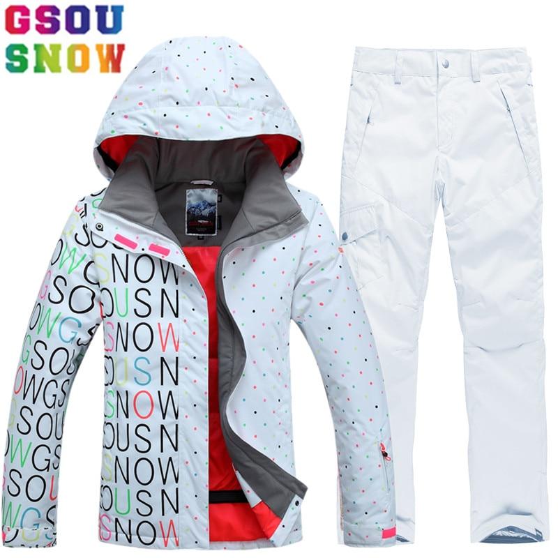 75b04f0c349 GSOU SNOW marca traje de esquí traje de las mujeres pantalones de chaqueta  de esquí impermeable Snowboard Juegos de la montaña esquí traje de invierno  ropa ...