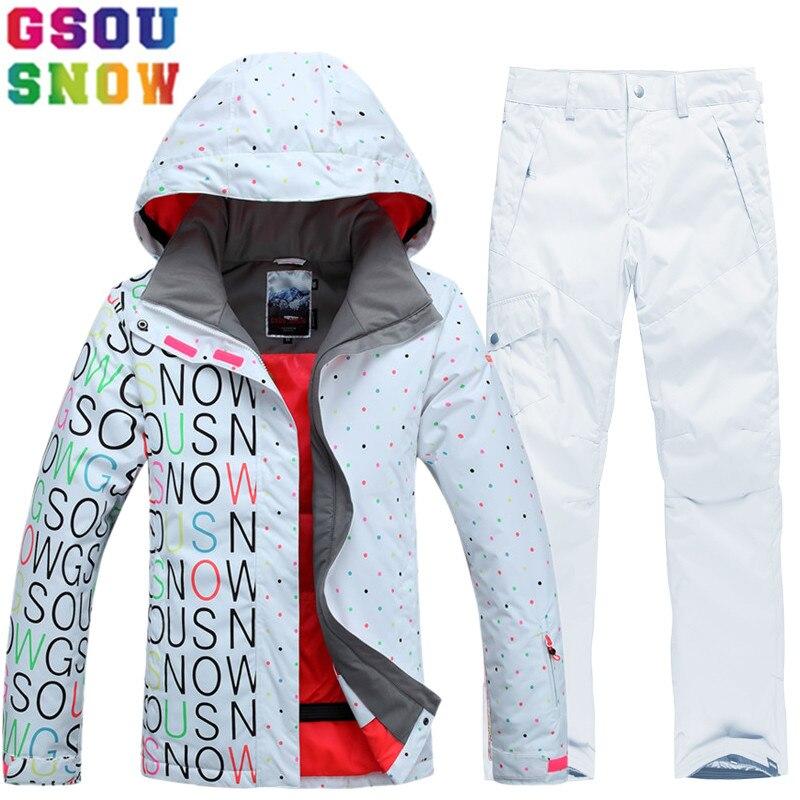 GSOU SNOW marca traje de esquí traje de las mujeres pantalones de chaqueta  de esquí impermeable Snowboard Juegos de la montaña esquí traje de invierno  ropa ... a500314e76a