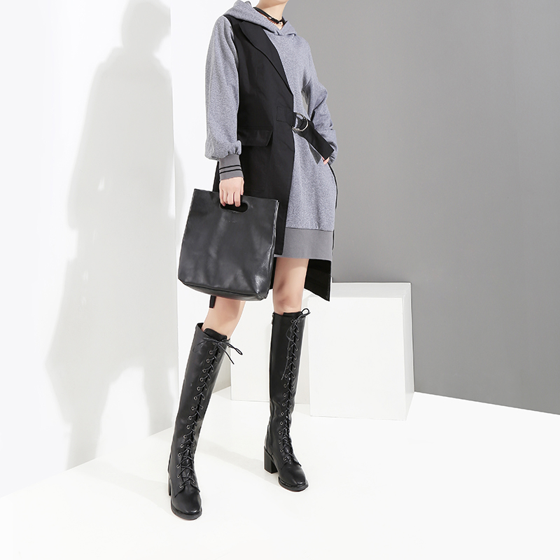 Image 4 - New 2019 Korean Style Women Autumn Winter Black Patchwork Hooded 