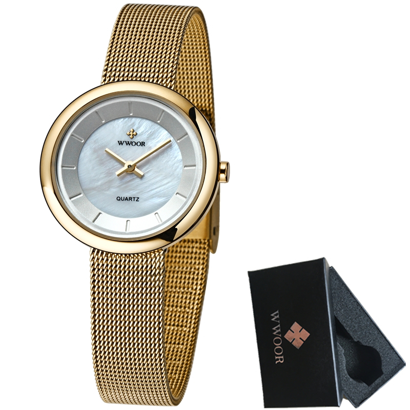 Luxury Brand WWOOR Women Watches Fashion Bracelet Dress Quartz Watch Women Ultra Thin Gold Watch Casual Clock Relogio Feminino luxury fashion brand bracelet watches women men casual quartz watch leather wrist watch wristwatch clock relogio feminino