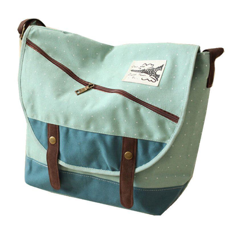 2016 Fashion Casual Canvas Bag Women Handbag Shoulder Bags  Dot Design Brand Women's Crossbody Bag 4 Colors Free Shipping 2015 new fashion leisure canvas pu women shoulder bags women brand clutch free shipping