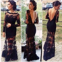 2016 New Autumn Dress Vintage Sexy O Neck Lace Dress Long Sleeve Club Blackless Casual Long
