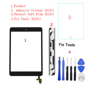 "1Pcs Touch Screen Digitizer+IC Chip Connector+Button For iPad Mini1 Mini 1 Mini2 Mini 2 7.9"" A1432 A1454 A1455 A1489 A1490 A1491(China)"