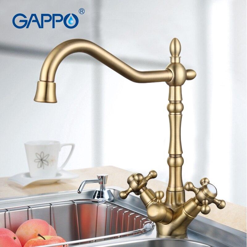 GAPPO ouro misturador de água da torneira de Bronze Antigo torneira da pia da cozinha Misturador torneira da cozinha flexível água potável saver torneiras G4398-3