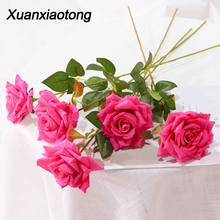 Xuanxiaotong 11pcs/set Flannel Roses Artificial Flowers Bouquet for Wedding Centerpiece Decoration Romantic party Decor